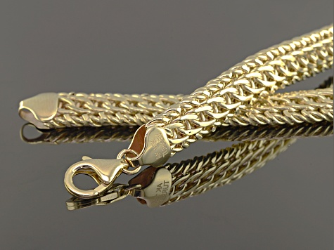 10k Yellow Gold Hollow Diamond Cut Woven Link Necklace 18 inch