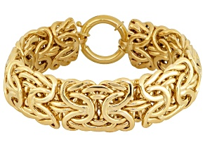 10k Yellow Gold Hollow Byzantine Link Bracelet 8 inch 19mm