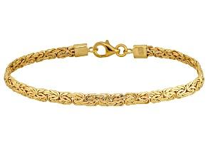 10k Yellow Gold Hollow Diamond Cut Byzantine Link Bracelet 7.5 inch