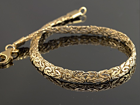 10k Yellow Gold Hollow Diamond Cut Byzantine Link Bracelet 7 5 Inch