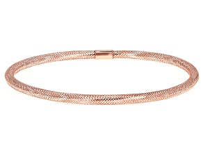 Rose Over 10k Yellow Gold Mesh Bangle Bracelet