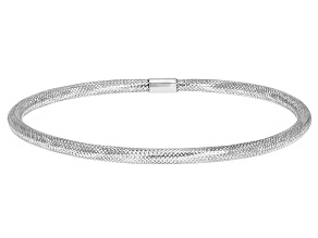 Rhodium Over 10k Yellow Gold Mesh Bangle Bracelet