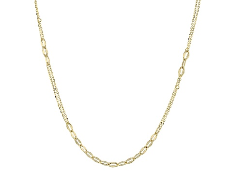 10k Yellow Gold Hollow Mariner Link Chain Necklace 24 inch