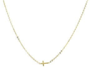 10k Yellow Gold Cross Station Necklace 32 inch