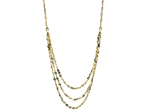 10k Yellow Gold Singapore Link Necklace 18 inch