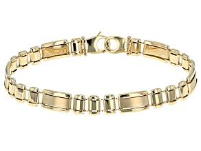 10k Yellow Gold Hollow Designer Link Bracelet 8.5 inch