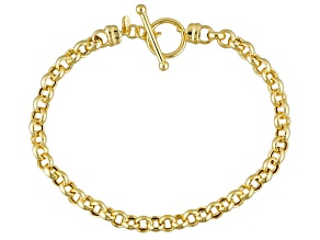 10k Yellow Gold Hollow Rolo Link Bracelet 7.5 inch