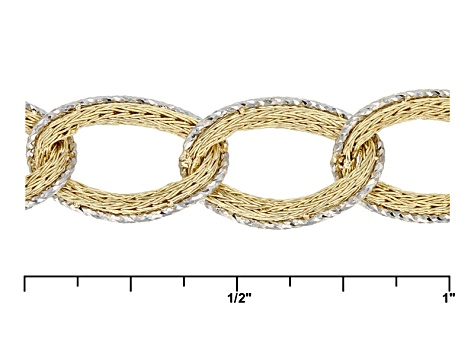 10k Yellow Gold With Rhodium Over 10k Yellow Gold Curb Link Bracelet 725 inch