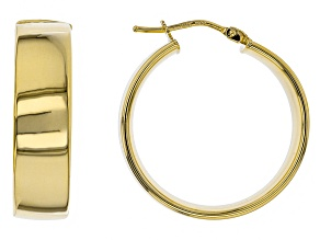 10k Yellow Gold Tube Hoop Earrings