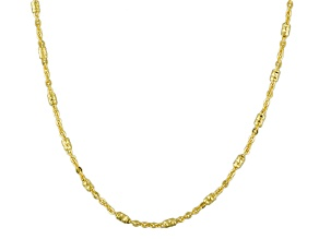 10k Yellow Gold Diamond Cut Bead Station Cable Link Chain Necklace 20 inch