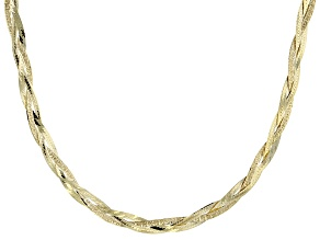 10k Yellow Gold Herringbone Link Necklace 20 inch