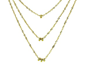 10k Yellow Gold Three Strand Singapore Necklace 18 inch