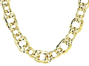 10k Yellow Gold Curb Link With Stations Necklace 20 inch