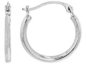 10k White Gold Tube Hoop Earrings 1.5mm Gauge