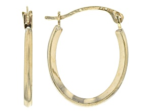 10k Yellow Gold Oval Tube Hoop Earrings