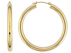 14k Yellow Gold Tube Hoop Earrings 3.5mm