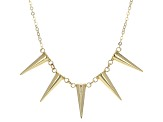 14k Yellow Gold Geometric Cone Station Necklace 17 inch