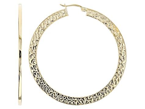 14k Yellow Gold Flat Hammered Hoop Earrings