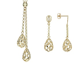 10k Yellow Gold Hollow Teardrop Necklace And Earring Set