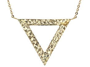 14k Yellow Gold Hollow Triangle Necklace 17 inch