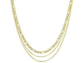 14k Yellow Gold Cable, Figaro, Box 20 Inch Chain Necklace Set Of Three