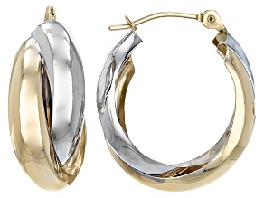 14k Yellow Gold And Rhodium Over 14k White Gold Tube Hoop Earrings 12mm