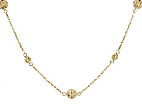 bd66e41aad945 14k Yellow Gold Hollow Bead Station Necklace 17 inch