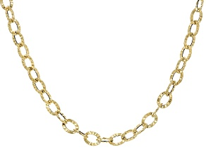 14k Yellow Gold Hollow Oval Necklace 18 inch