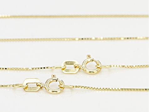 10k Yellow Gold Hollow Box Chain Necklace Set Of Two