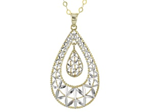 10k Yellow Gold With Rhodium Over 10k Yellow Gold Teardrop Necklace 18 inch