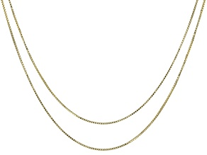 10k Yellow Gold Box Chain Necklace Set Of Two