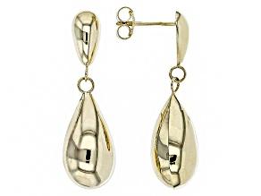10k Yellow Gold Polished Teardrop Dangle Earrings