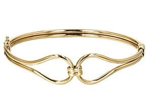 10k Yellow Gold Hollow Bangle Bracelet 7 inch 2mm