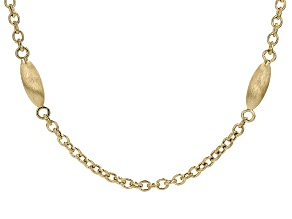 14k Yellow Gold Bead Station Rolo Necklace 24 inch