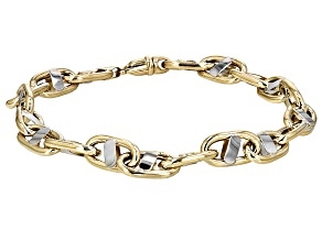 10k Yellow Gold With Rhodium Over 10k Yellow Gold Oval Curb Bracelet 8.5 inch