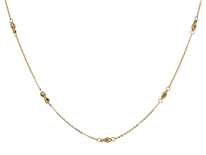 14k Yellow Gold Rope Station Necklace 18 inch