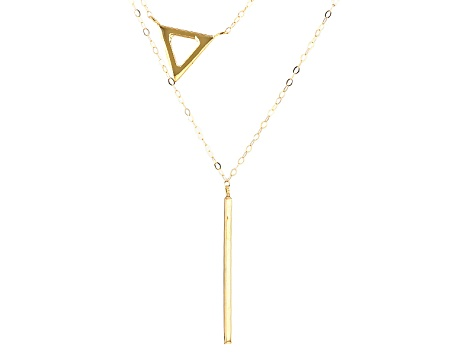 10k Yellow Gold Hollow Geometric Shape Necklace 17 inch