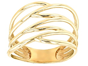 10k Yellow Gold Hollow Polished Highway Design Ring