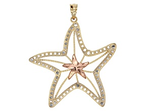 10k Yellow Gold With Rhodium Over 10k Yellow Gold With Rose Gold Starfish