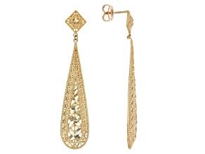 10k Polished Diamond Cut Teardrop Dangle Earrings