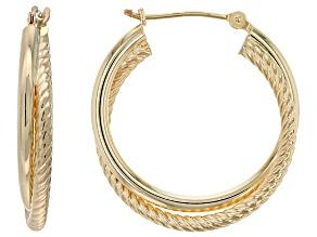 14k Yellow Gold Double Spiral Tube Hoop Earrings 19mm