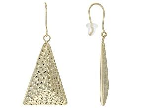 10k Yellow Gold Hollow Diamond Cut Triangle Pyramid Dangle Earrings