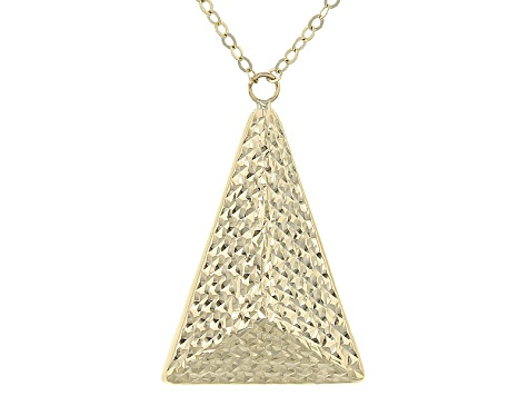 10k Yellow Gold Polished Diamond Cut Pyramid Pendant With 17 inch Chain