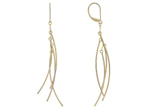 14k Yellow Gold Polished Curved Multi Tube Drop Earrings