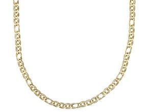 14k Yellow Gold Polished Diamond Cut interlock Oval Curb 18 inch