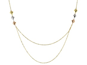 10k Yellow Gold Hollow With Hearts Double Center Cable Chain 18 inch