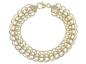 10k Yellow Gold Hollow Polished Textured Sadusa Bracelet 7.5 inch