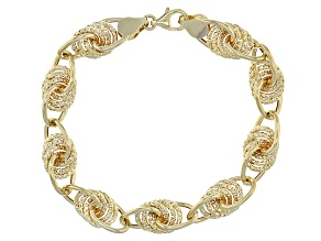 10k Yellow Gold Hollow Oval Link Station Bracelet 7.5 inch