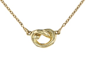 10k Yellow Gold Station Crossover Knot Necklace 17 inch