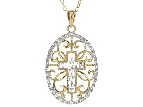 10K Yellow Gold & Rhodium Over Yellow Gold Cross Pendant With Chain